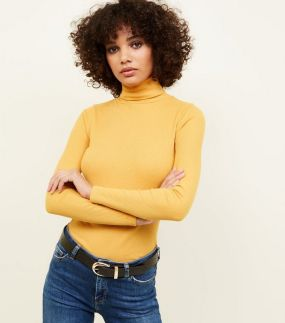 mustard-ribbed-roll-neck-top