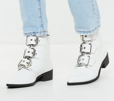 white-three-buckle-pointed-biker-boots