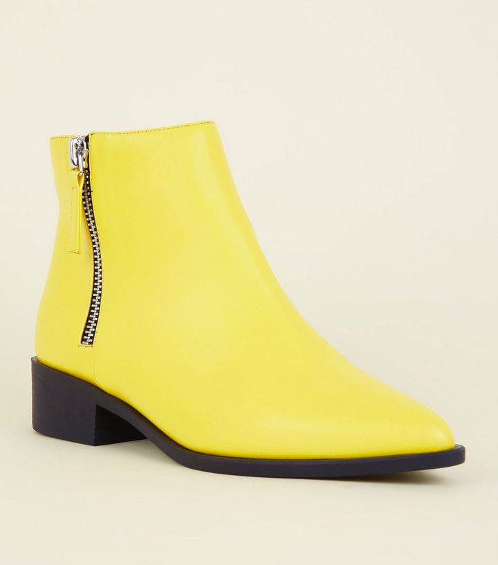 wide-fit-yellow-block-heel-ankle-boots