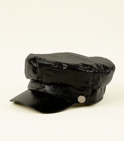 black-faux-snakeskin-baker-boy-hat
