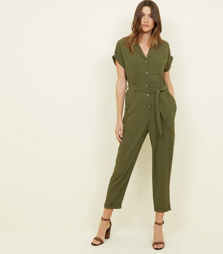khaki-button-front-tapered-leg-jumpsuit-