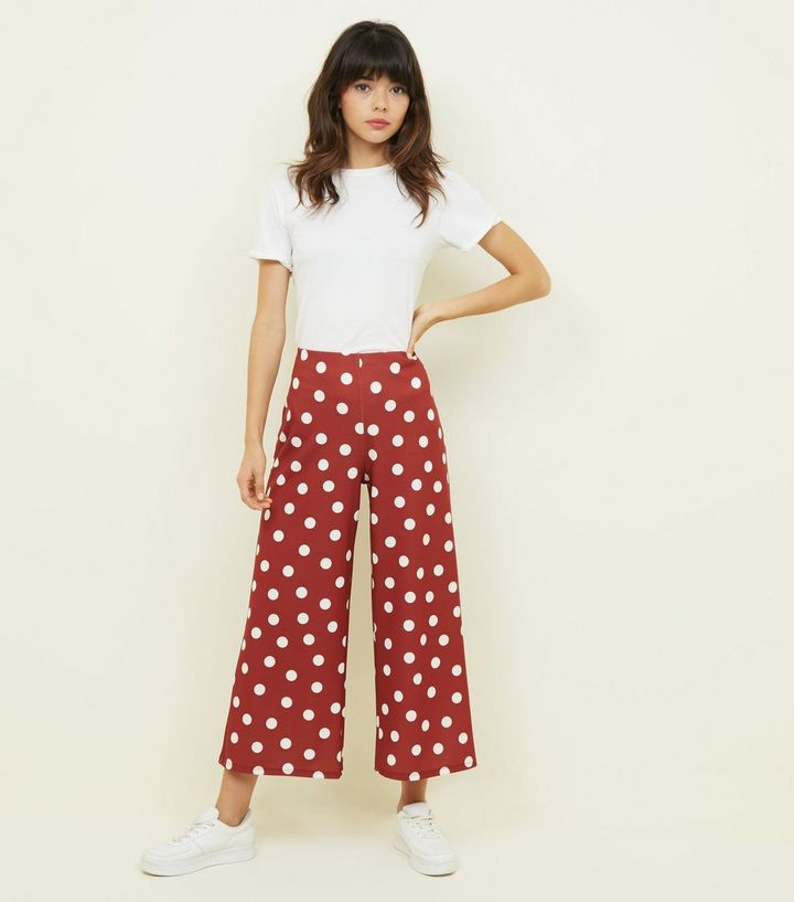 rust-polka-dot-scuba-crop-trousers