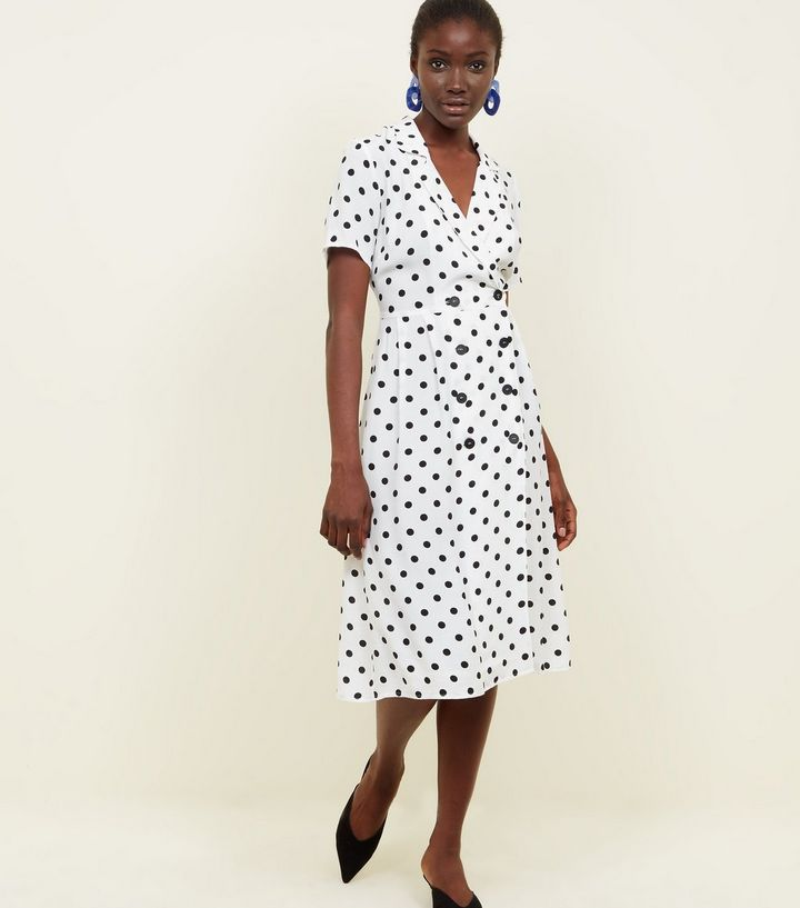 white-spot-print-double-breasted-midi-dress