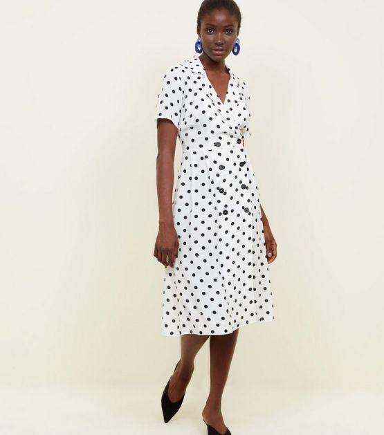 white-spot-print-double-breasted-midi-dress